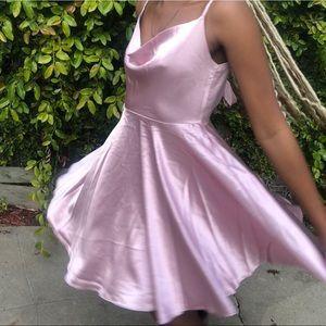 🔵AKIRA Pink Mauve Open Tie Back Mini Dress
